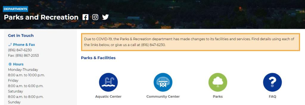 Screenshot of the Parks and Recreation landing page