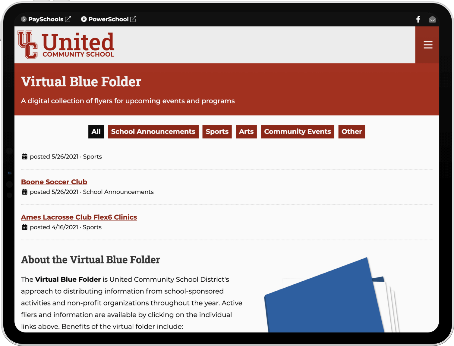 Screenshot of the site's virtual blue folder page on a tablet