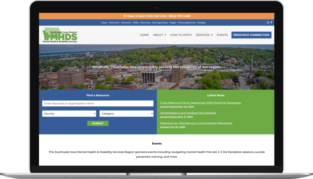 Screenshot of the Southwest Iowa Region Mental Health and Disability Services website.